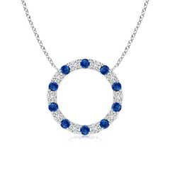 Eternity Sapphire and Diamond Open Circle Pendant