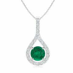 Floating GIA Certified Emerald Drop Pendant with Diamonds