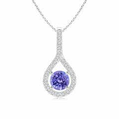Prong-Set Floating Tanzanite Drop Pendant with Diamond Accents