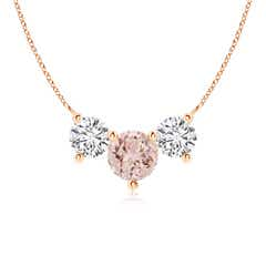 Classic Trio Morganite and Diamond Necklace Past Present Future