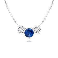 Trio Sapphire and Diamond Necklace Past Present Future