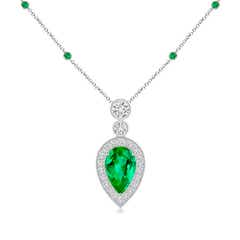 Pear Shaped Emerald Necklace Pendant with Diamond Halo
