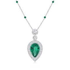 Inverted Pear GIA Certified Emerald Necklace with Diamonds