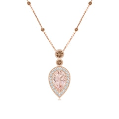 Inverted Pear Morganite Necklace with Coffee Diamonds