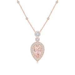 Inverted Pear Morganite Necklace with Diamonds