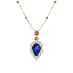 Inverted Pear Tanzanite Necklace with Coffee Diamonds