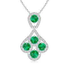Emerald Layered Drop Pendant with Diamonds