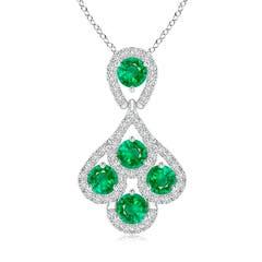 Layered Drop Diamond and Emerald Pendant Necklace
