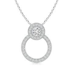 Entwined Halo Diamond Circle Pendant Necklace