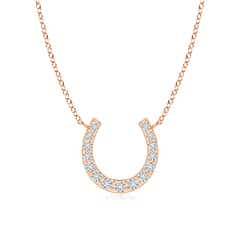Classic Diamond Horseshoe Pendant Necklace