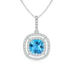 Double Halo Cushion Swiss Blue Topaz Pendant