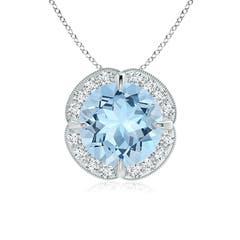 Claw Set Aquamarine Clover Necklace Pendant with Diamond Halo
