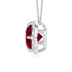 Claw Set Garnet Clover Necklace Pendant with Diamond Halo