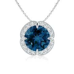 Claw-Set London Blue Topaz Clover Pendant with Diamond Halo