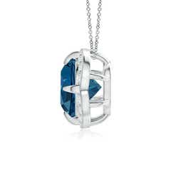 Toggle Claw-Set London Blue Topaz Clover Pendant with Diamond Halo
