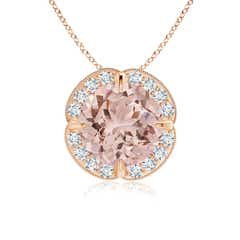 Claw-Set Morganite Clover Pendant with Diamond Halo