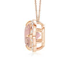 Toggle Claw-Set Morganite Clover Pendant with Diamond Halo