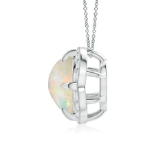 Claw Set Opal Clover Necklace Pendant with Diamond Halo