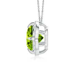 Toggle Claw-Set Peridot Clover Pendant with Diamond Halo