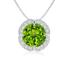 Claw Set Peridot Clover Necklace Pendant with Diamond Halo