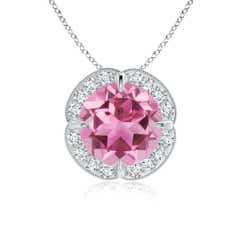 Claw Set Pink Tourmaline Clover Necklace Pendant with Diamond Halo