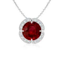 Claw-Set GIA Certified Ruby Clover Pendant with Diamond Halo