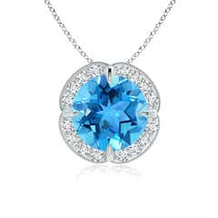 Claw-Set Swiss Blue Topaz Clover Pendant with Diamond Halo