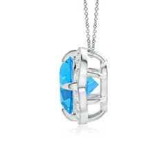 Toggle Claw-Set Swiss Blue Topaz Clover Pendant with Diamond Halo