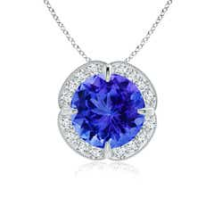 Claw-Set Tanzanite Clover Pendant with Diamond Halo