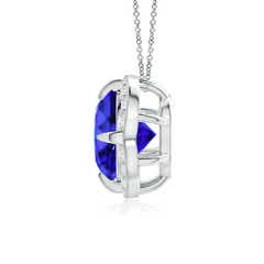 Claw Set Tanzanite Clover Necklace Pendant with Diamond Halo