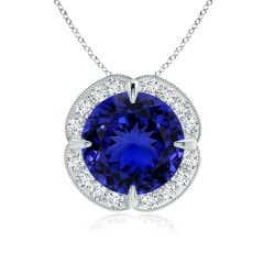Tanzanite Halo Clover Necklace (GIA Certified Tanzanite)