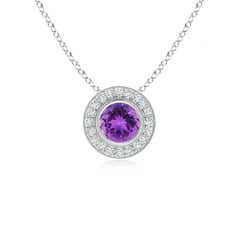 Bezel-Set Amethyst Pendant with Diamond Halo