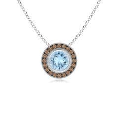 Bezel-Set Aquamarine Pendant with Coffee Diamond Halo