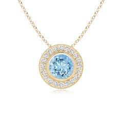 Bezel-Set Aquamarine Pendant with Diamond Halo