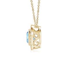 Toggle Bezel-Set Aquamarine Pendant with Diamond Halo
