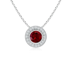 Angara Double Loop Twist Garnet Pendant with Diamonds ahjd4D3