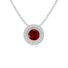 Bezel-Set Garnet Pendant with Diamond Halo