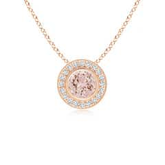 Bezel-Set Morganite Pendant Necklace with Diamond Halo