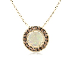 Bezel-Set Opal Pendant with Coffee Diamond Halo