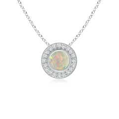 Opal Pendant Necklace with Diamond Halo