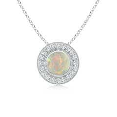 Bezel-Set Opal Pendant with Diamond Halo