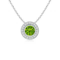Bezel-Set Peridot Pendant with Diamond Halo