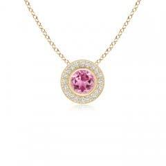 Pink Tourmaline Pendant Necklace with Diamond Halo
