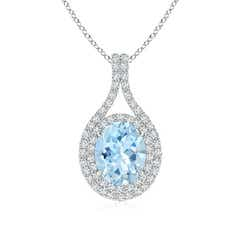 Oval Aquamarine Double Halo Pendant Necklace