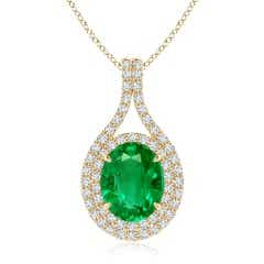 Oval GIA Certified Emerald Double Halo Loop Pendant