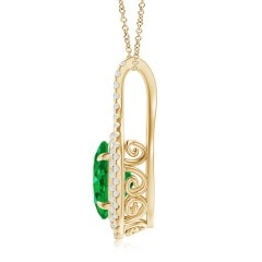 Toggle Oval GIA Certified Emerald Double Halo Loop Pendant