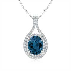 Oval London Blue Topaz Double Halo Loop Pendant