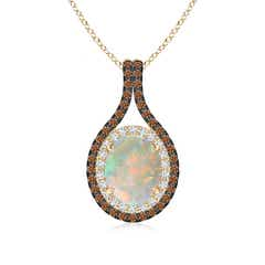 Oval Opal Loop Pendant with Coffee & White Diamonds