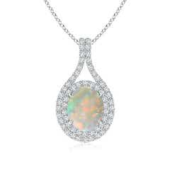 Oval Opal Double Halo Pendant Necklace