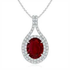 Oval Ruby and Diamond Double Halo Pendant (GIA Certified Ruby)